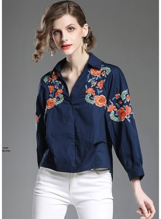 BTP05293703X Embroidery V neck shirt REAL PHOTO