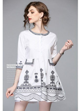 BDS05290586S Embroidery round neck dress REAL PHOTO