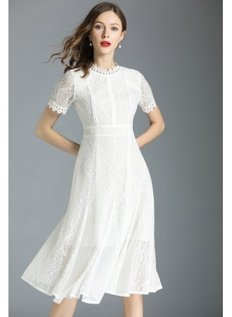 BDS05291686S Full lace white flared dress REAL PHOTO