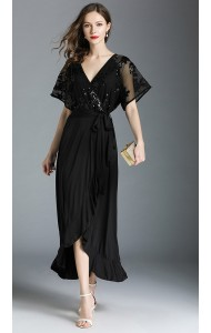 BDS05296286S V neck irregular fungus dress REAL PHOTO