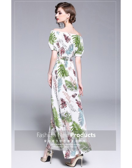 BDS05303475X Shoulder off printed dress REAL PHOTO