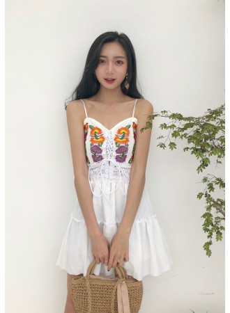KST05319388S Embroidery floral top + skirt set REAL PHOTO