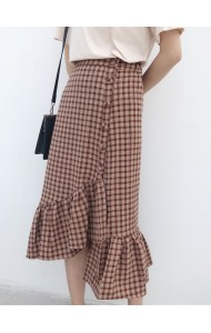 KSK05319455C Plaid irregular skirt REAL PHOTO