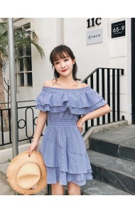 KDS06041208A Shoulder off ruffle stripes dress REAL PHOTO