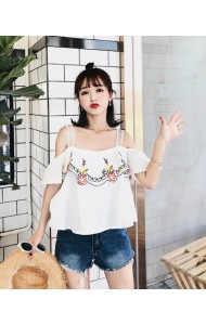 KTP06044008A Shoulder off embroidery blouse REAL PHOTO