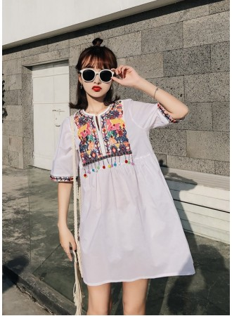 KDS06045008A Ethnic embroidery dress REAL PHOTO