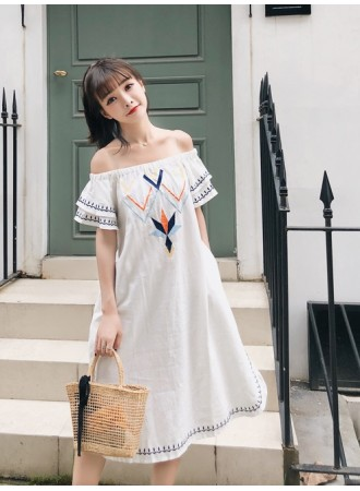 KDS06046108A Ethnic embroidery shoulder off dress REAL PHOTO