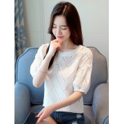 KTP06046306T Hollow out lace blouse REAL PHOTO