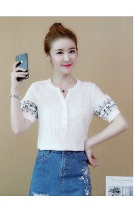 KTP06049205T V neck blouse with sleeves embroidery REAL PHOTO