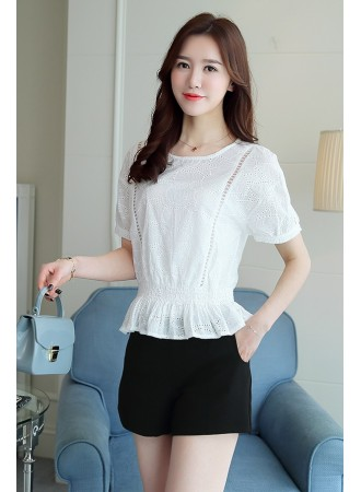 KTP06057766T Hollow embroidery peplum blouse REAL PHOTO