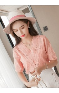 KTP06057303D Hollow V neck  blouse REAL PHOTO