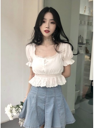 KTP06058028H CHIC lace puff sleeves blouse REAL PHOTO