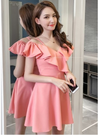 KDS06061111B Strappy shoulder off ruffle dress REAL PHOTO