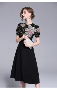 BDS06068536D Embroidery high neck skater dress REAL PHOTO