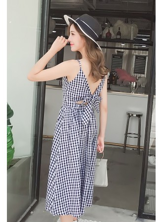 KDS0606428H Plaid dress with back ribbon REAL PHOTO