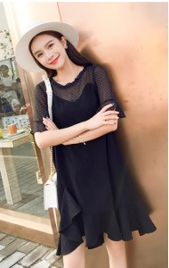 KDS0607738H Mesh shoulder trumpet dress REAL PHOTO
