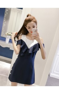KDS06071365L Shoulder off ruffle dress REAL PHOTO