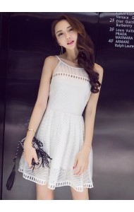 KDS06072538Q Halter netting white dress REAL PHOTO