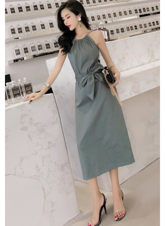 KDS06075559W Halter midi dress with bow REAL PHOTO
