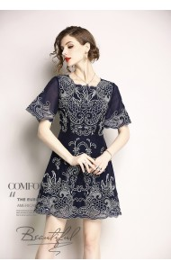 BDS06077559H Premium embroidery A line dress REAL PHOTO