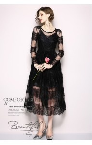 BDS06079339H Lacy 2pc black maxi dress REAL PHOTO