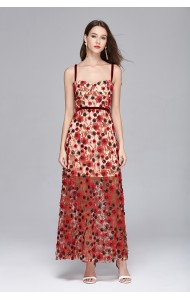BDS0620032S 2018 embroidery sequin maxi dress REAL PHOTO