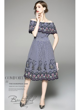 BDS06202903S Shoulder off stripes embroidery dress REAL PHOTO