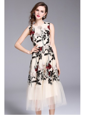 BDS06202816S Embroidery floral netting dress REAL PHOTO