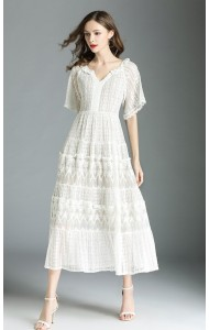 BDS06200136S V neck full lace dress REAL PHOTO