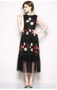 BDS06204816S Embroidery netting dress in black REAL PHOTO
