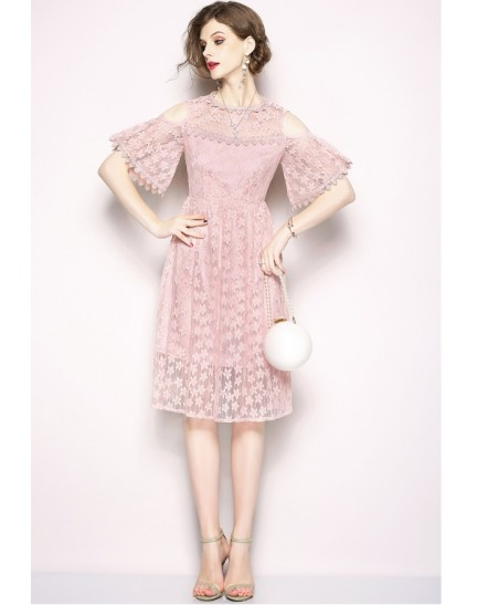 BDS06205136S Embroidery shoulder off lacy dress REAL PHOTO