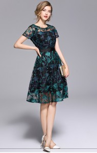BDS06208136S Embroidery mesh shoulder dress REAL PHOTO