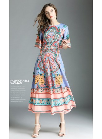 BDS06209237S Ethnic trumpet sleeves dress REAL PHOTO
