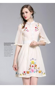 BDS06207503S Embroidery trumpet sleeves dress REAL PHOTO