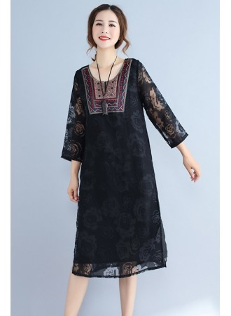 KDS07026325Y Full lace embroidery dress REAL PHOTO