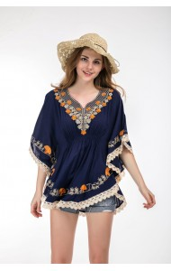 KTP07033889Y Plus size embroidery bat wing blouse REAL PHOTO