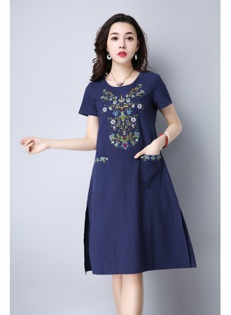 KDS07037815Y Embroidery linen dress with pockets REAL PHOTO