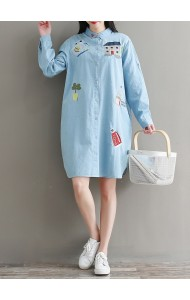 KDS07038518C Embroidery denim shirt dress REAL PHOTO