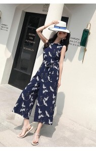 KJP07042533S Bird print chiffon jumpsuit REAL PHOTO