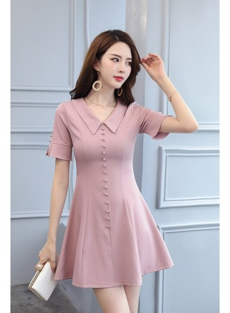 KDS07044515T Retro V neck collar button dress REAL PHOTO