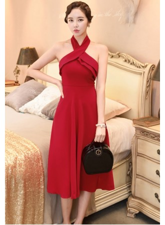 KDS0704485Y Halter midi dress in red REAL PHOTO