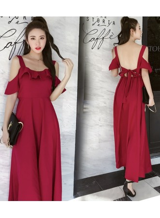KDS07041878Y Bared back ruffle dress in red REAL PHOTO