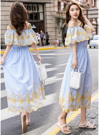 KDS0704906Y Off shoulder embroidery stripes maxi dress REAL PHOTO