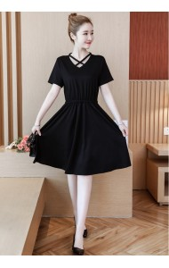 KDS07042267M Plus size cross collar slim dress REAL PHOTO