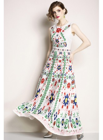 BDS07093825X Printed floral chiffon dress REAL PHOTO