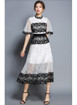 BDS07093035X Trumpet sleeves full lace dress REAL PHOTO