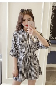 KJP07040233YP Korea plaid chiffon jumpsuit REAL PHOTO