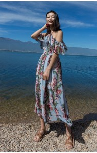 KDS07110678Y Halter shoulder off floral maxi dress REAL PHOTO