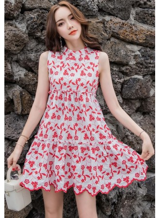 KDS07112780X Embroidery floral bared back dress REAL PHOTO