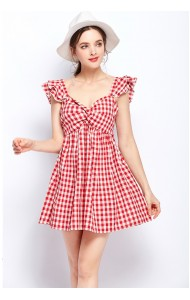 BDS07115135H Ruffle sleeves plaid mini dress REAL PHOTO